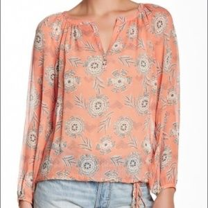 Lucky Brand Riviera Floral Print Peasant Blouse
